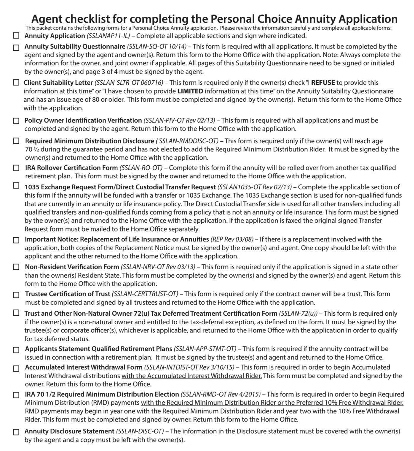 Annuity Checklist