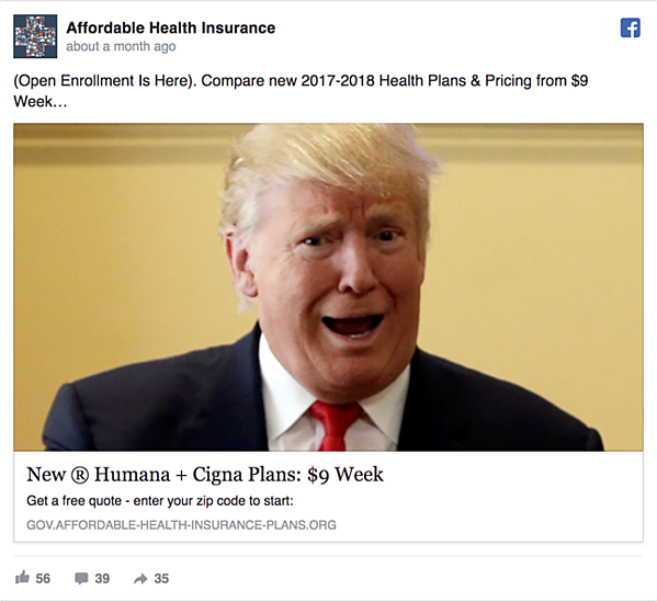 Affordable Health Insurance Facebook Ad