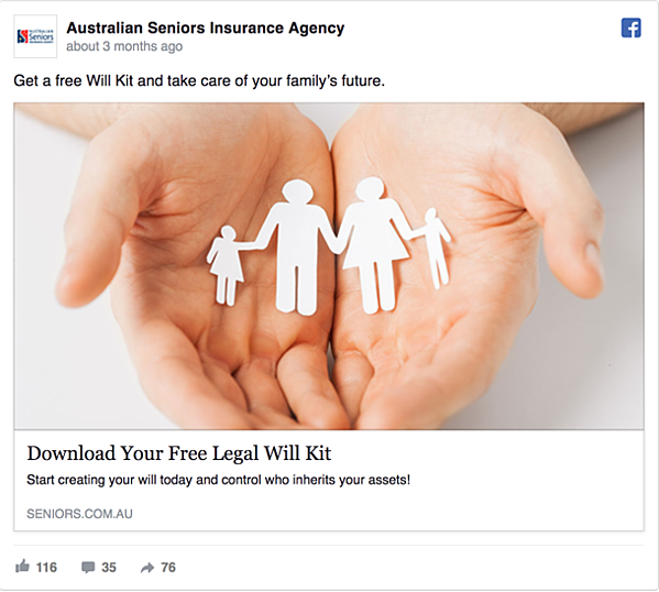 Australian Seniors Insurance Agency Facebook Ad