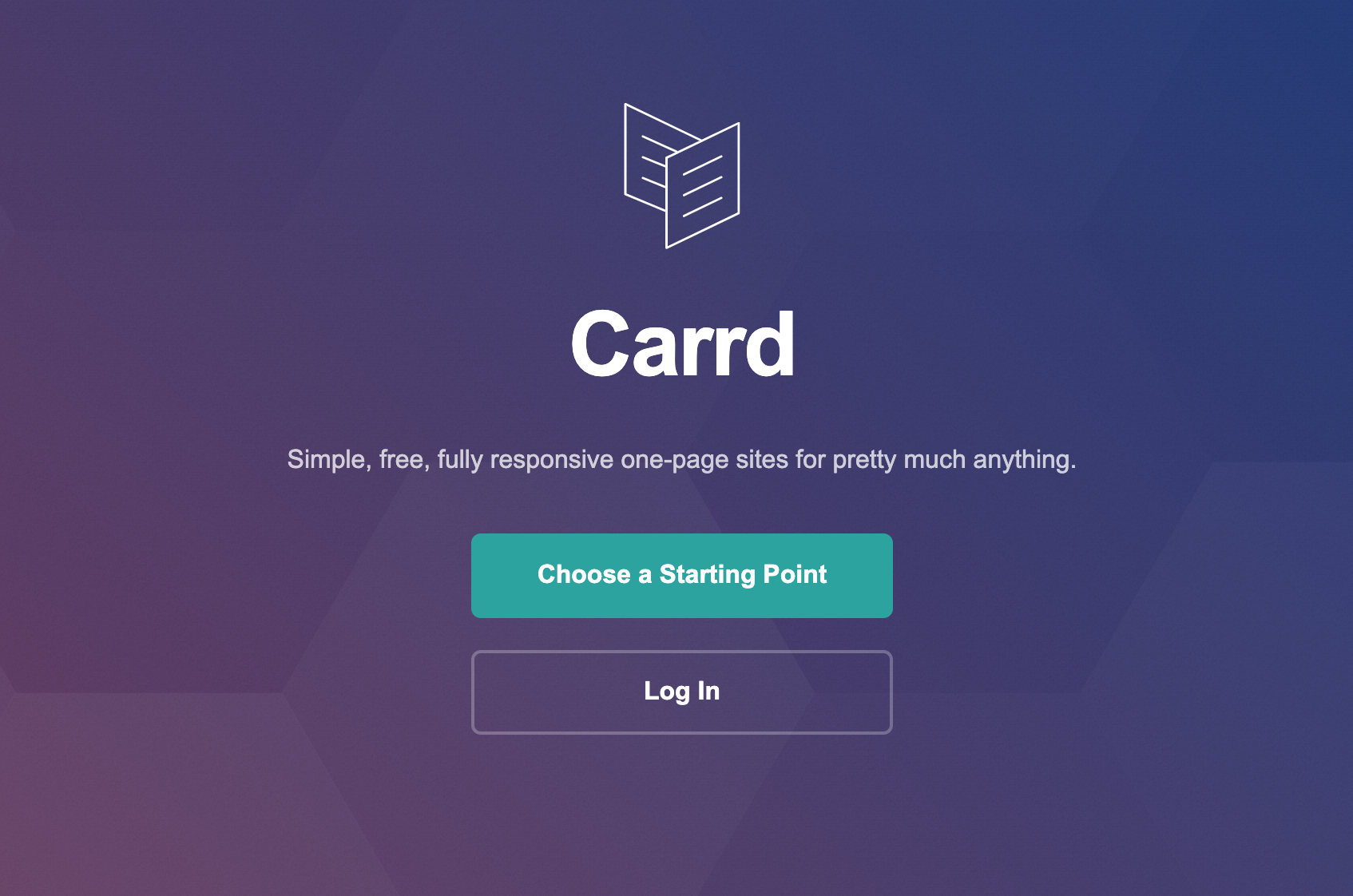 Carrd Choose a Starting Point