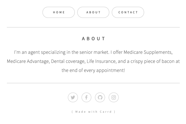 Carrd site for insurance agents About