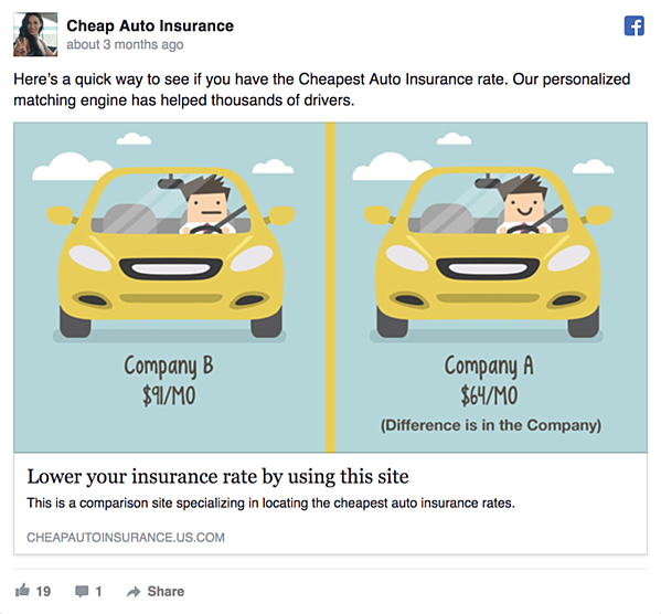 Cheap Auto Insurance Facebook Ad