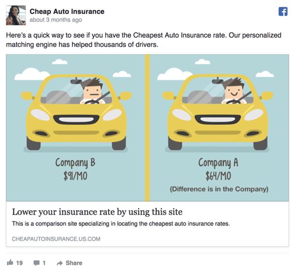 Cheap Auto Insurance Facebook Ad