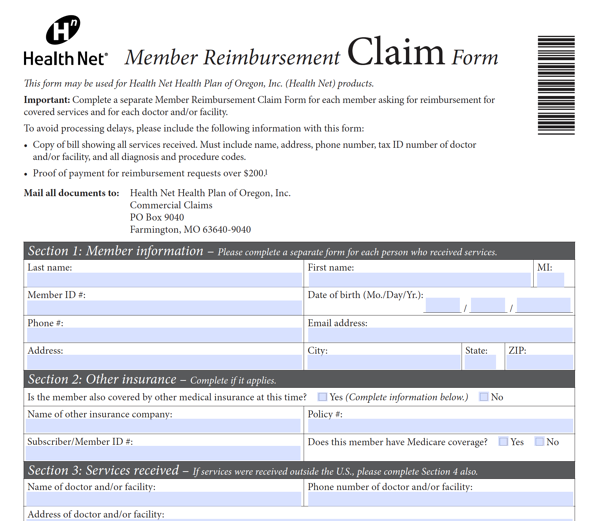 Health reimbursement form example