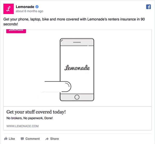 Lemonade Facebook Ad