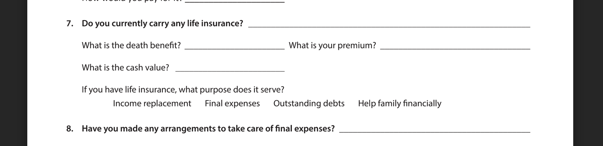 Life insurance review questions