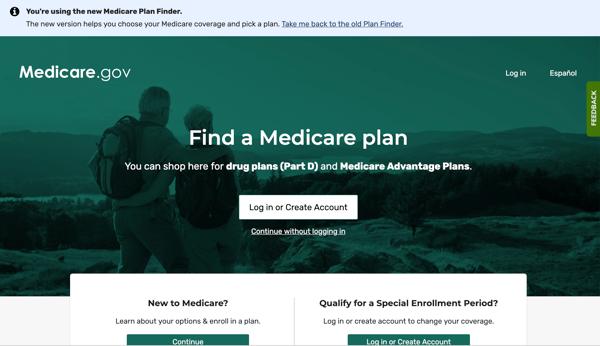 New Medicare plan finder homepage