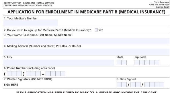 Sign Up For Medicare form