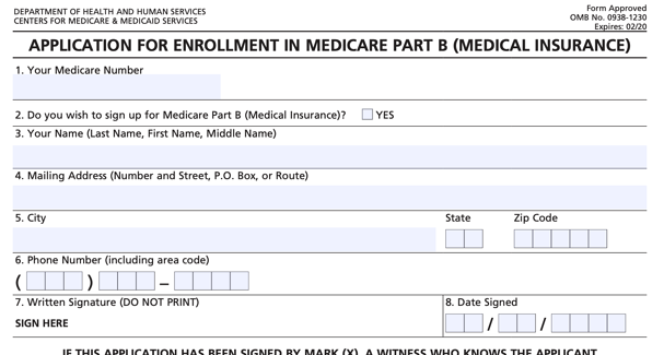 Sign Up For Medicare form