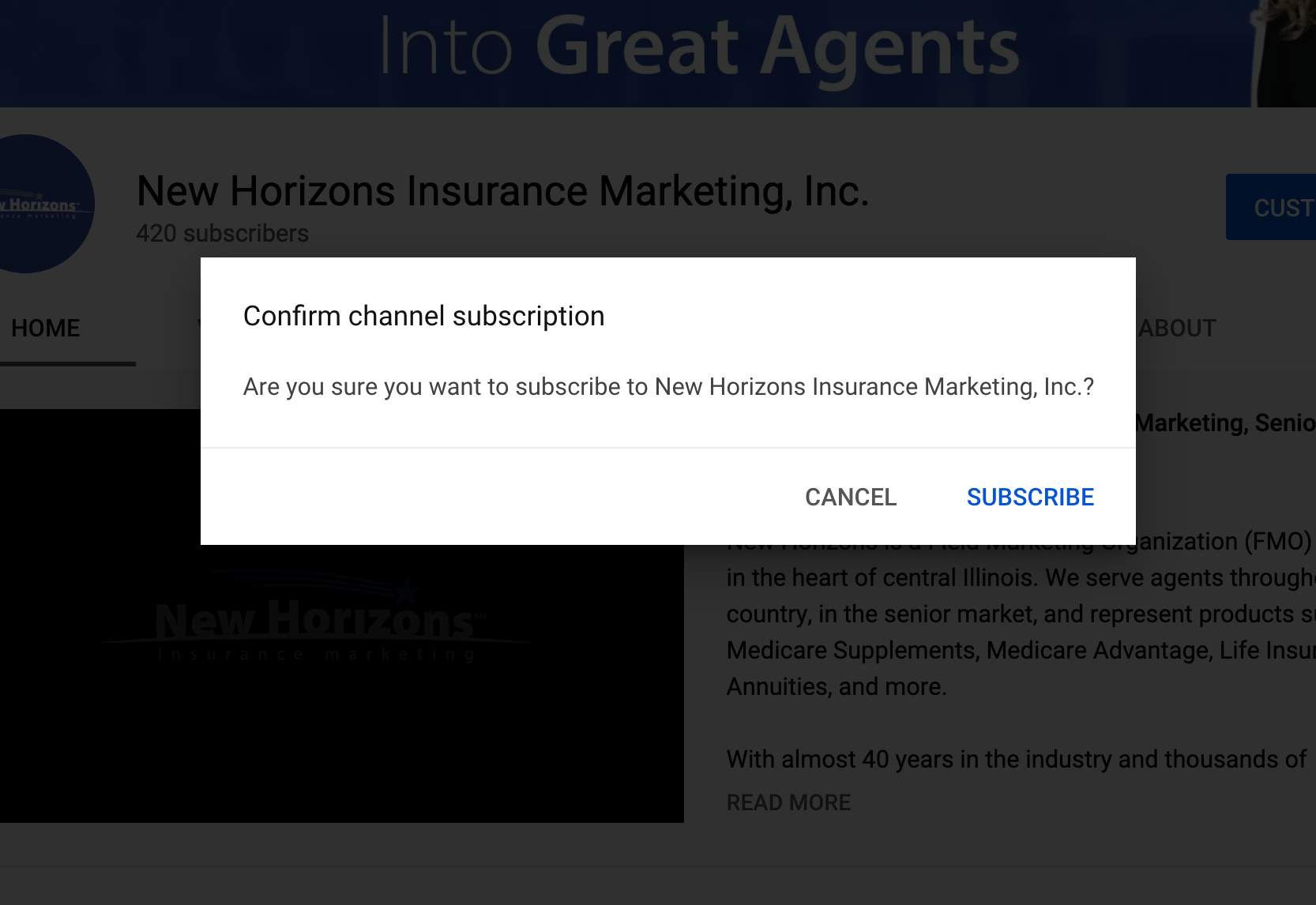 Subscribe to New Horizons Insurance Marketing YouTube