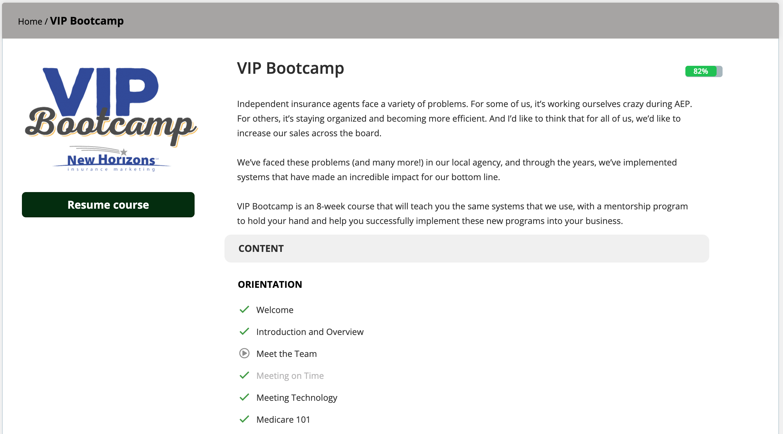 VIP Bootcamp LMS