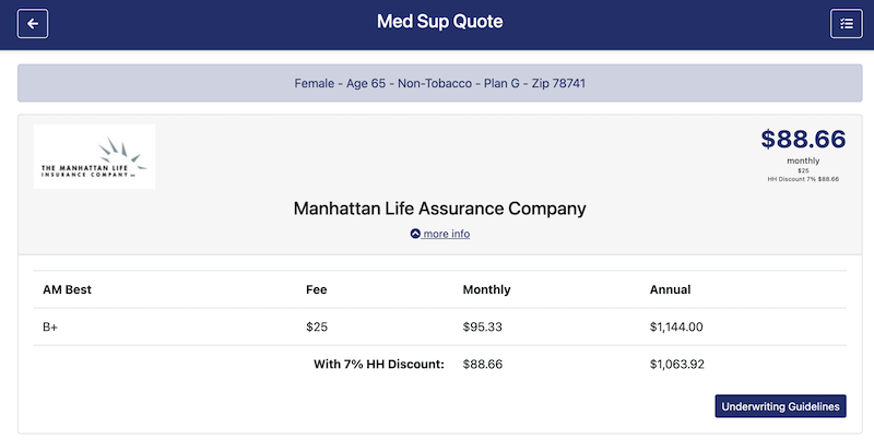 med supp options and underwriting guidelines