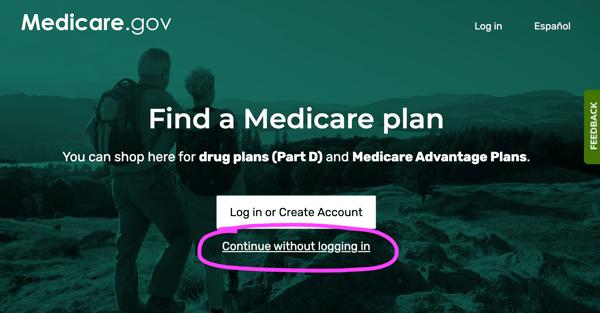 Medicare Plan Finder step 1