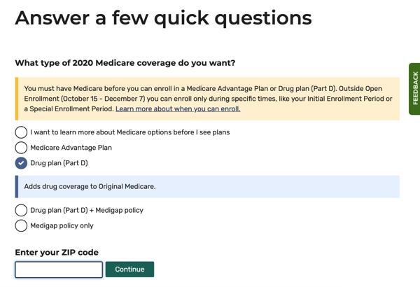 Medicare Plan Finder step 2