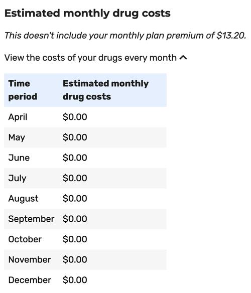 Medicare Plan Finder step 9