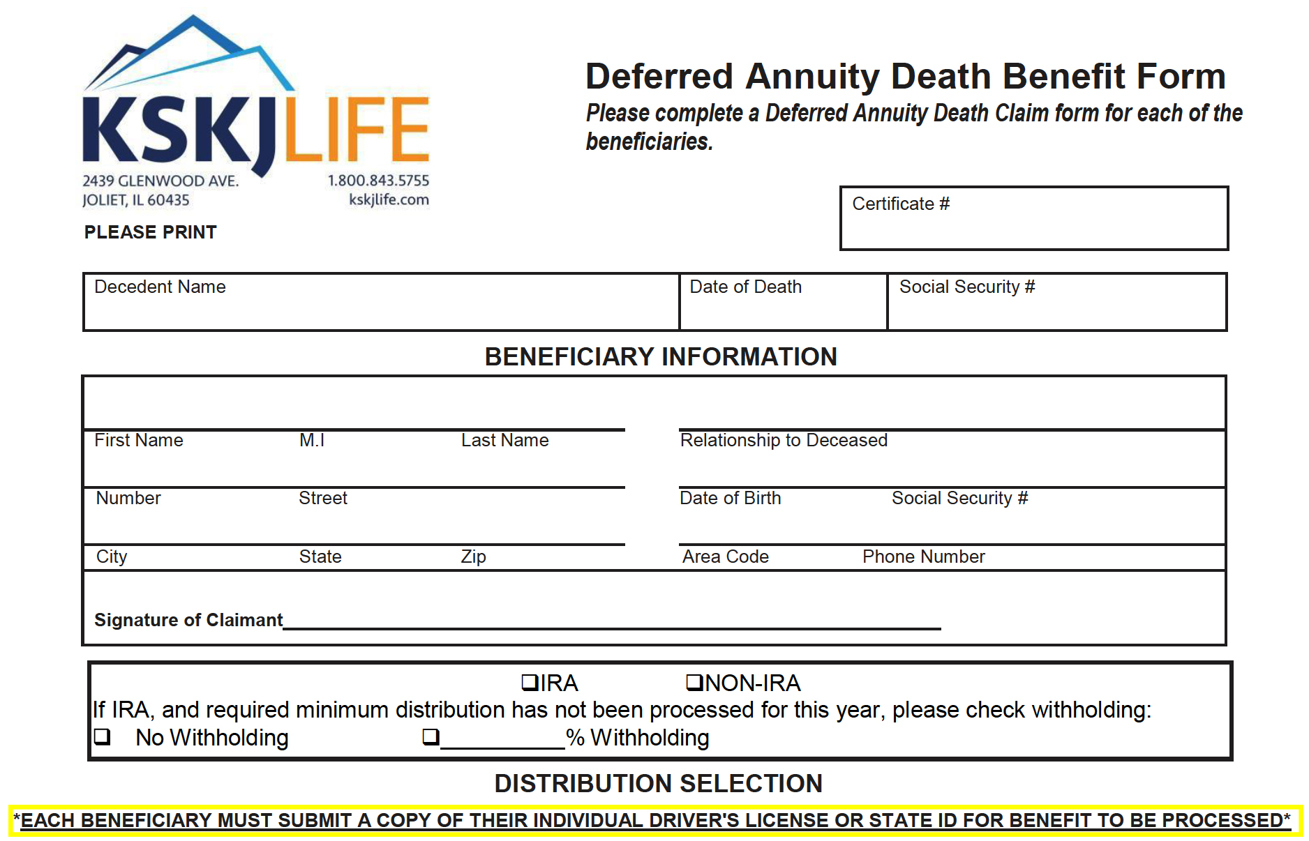 Example of the KSKJ Life Annuity Form