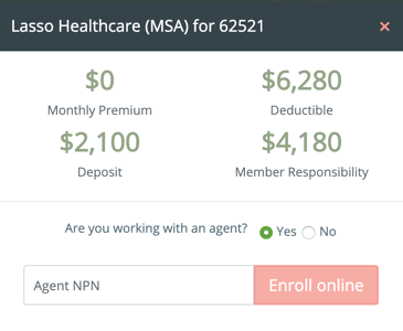 Lasso Healthcare e-application number adjustments