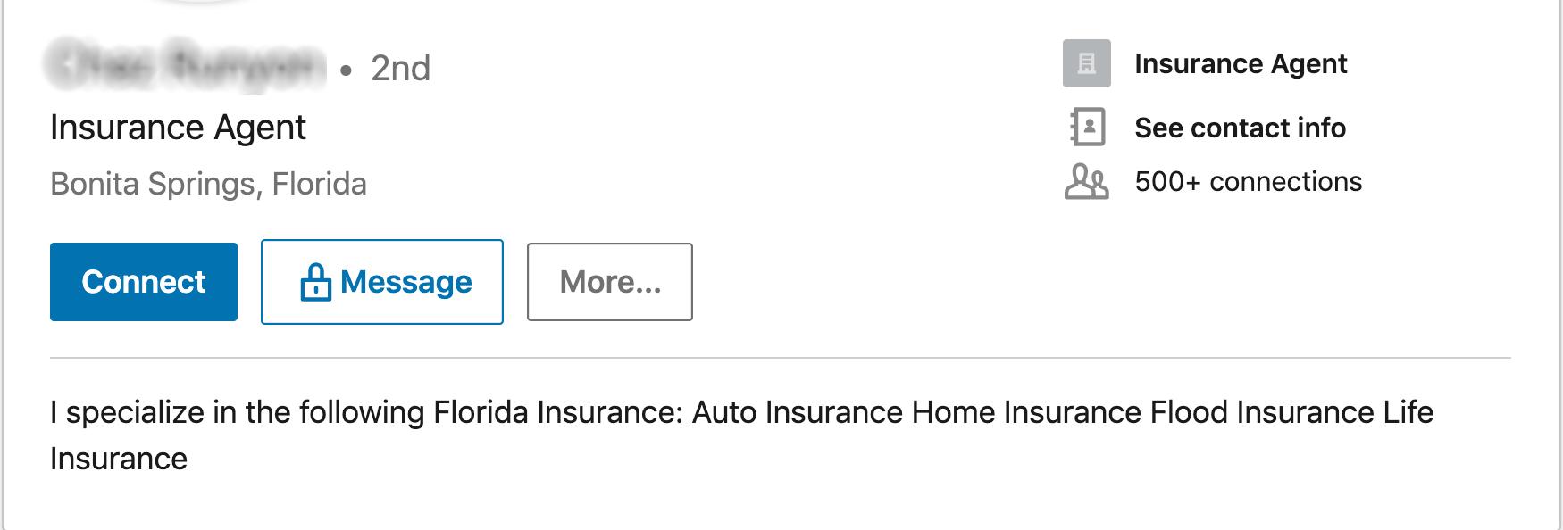Bad-Insurance-Agent-LinkedIn-Profile-Summary-Example