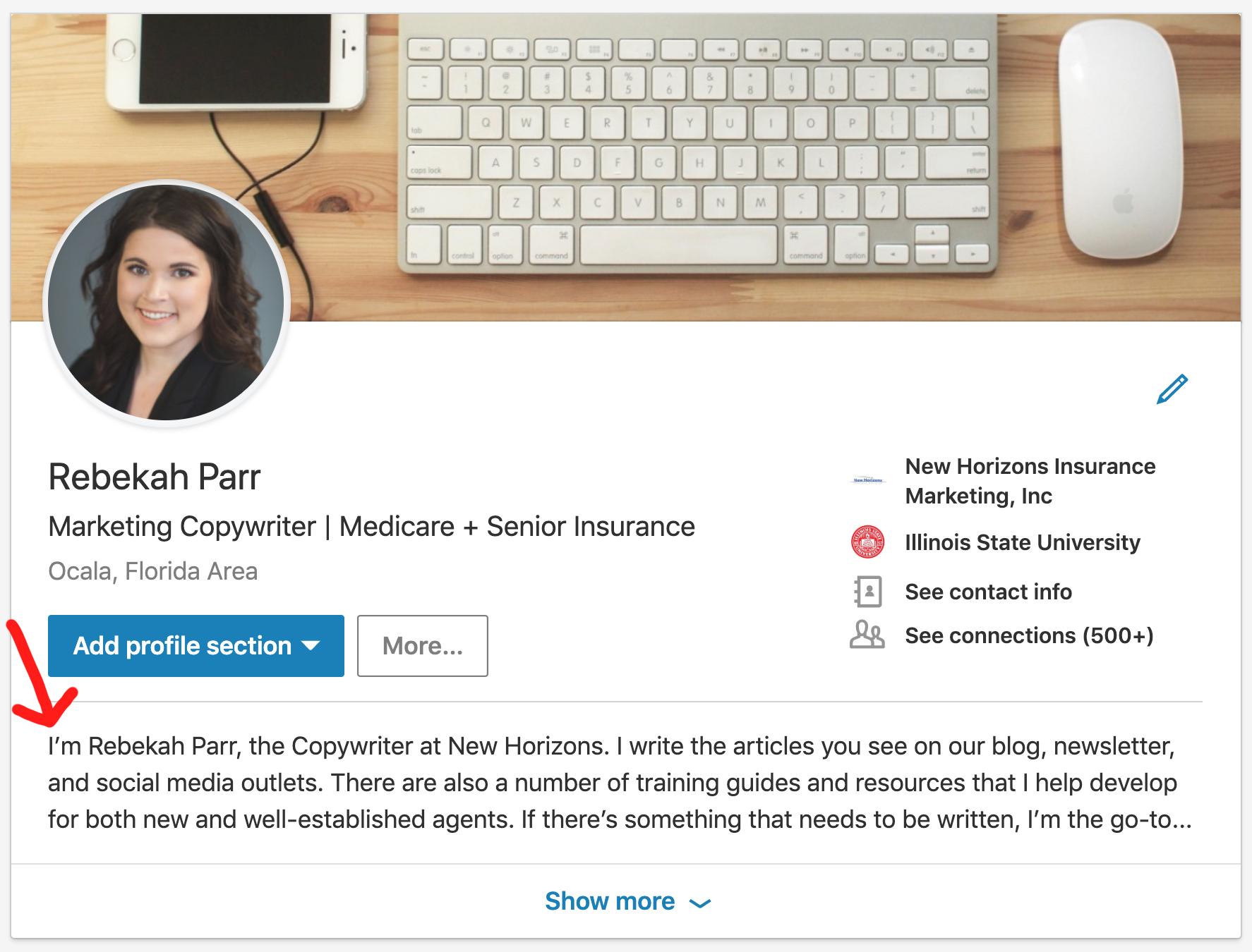 LinkedIn Profile Summary Example Insurance Agents